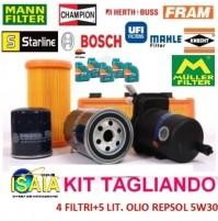 KIT TAGLIANDO FILTRI + 5 LITRI OLIO FORD FORMULA F 5W30 FORD FIESTA VI 1.4 TDCI