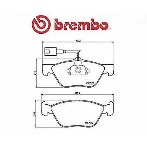 P23077 BREMBO KIT 4 PASTIGLIE FRENO ANT FOR ALFA ROMEO SPIDER (916) 1.8 16V KW106